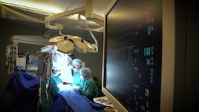 A sala de operações com o monitor video estoque