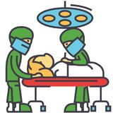 Sala de operaciones del hospital con concepto de la operación de la cirugía del sitio de la cirugía de los doctores stock de ilustración