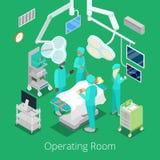 Sala de operaciones isométrica de la cirugía con los doctores en proceso de la operación stock de ilustración