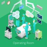 Sala de operaciones isométrica de la cirugía con los doctores en proceso de la operación libre illustration