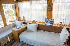 Sala de recepción en la casa de Vanga en Rupite, Bulgaria Imagenes de archivo