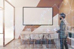 Sala de reunião bege branca do escritório, whiteboard tonificado Fotografia de Stock