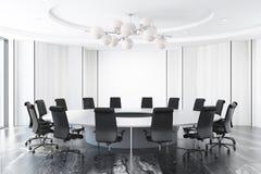 Sala de reunión blanca, mesa redonda stock de ilustración