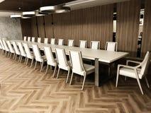 Sala de reunión con el piso laminado de madera fotografía de archivo
