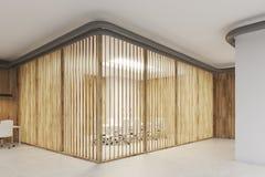 Sala de reunión con las persianas, madera stock de ilustración