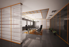 A sala de reuniões 3d interior rende Imagens de Stock Royalty Free