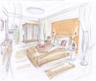 Sala de sono mediterrânea Fotos de Stock Royalty Free