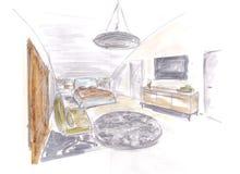 Sala de sono moderna Imagem de Stock Royalty Free