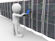 sala de trabalho do servidor de dados do homem 3d ilustração stock