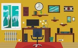 Sala de trabalho home amarela Imagens de Stock Royalty Free