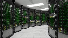 Sala de trabalho moderna do servidor com servidores da cremalheira ilustração royalty free