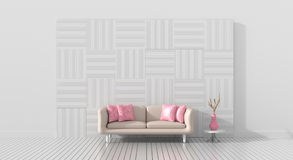 A sala de visitas é fornecida com a cor do ` s da mobília do amor para o dia de são valentim Fotografia de Stock Royalty Free