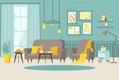 Sala de visitas acolhedor com poltrona e sofá, tabela de cabeceira com livros, cartazes na parede e papel de parede listrado, lâm ilustração do vetor