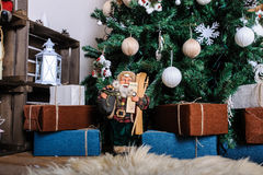 Sala de visitas bonita decorada para o Natal Foto de Stock Royalty Free