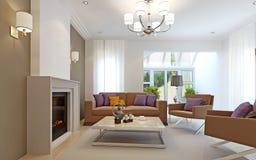 Sala de visitas brilhante com chaminé Fotos de Stock
