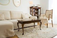 Sala de visitas brilhante com sofá e a decoração brancos do vintage fotografia de stock royalty free