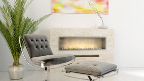 A sala de visitas brilhante moderna 3D rende Fotografia de Stock Royalty Free