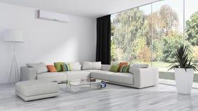Sala de visitas brilhante moderna do apartamento dos interiores com condição do ar ilustração royalty free