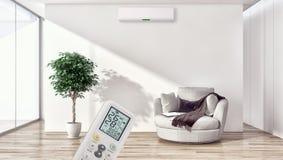 Sala de visitas brilhante moderna do apartamento dos interiores com condição do ar fotos de stock royalty free
