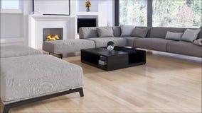 Sala de visitas brilhante moderna do apartamento dos interiores com ilustração da rendição do sofá 3D filme