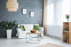 Sala de visitas cinzenta com sofá imagem de stock