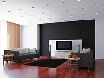 Sala de visitas com mobília e uma tevê Foto de Stock