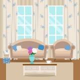 Sala de visitas com mobília Interior acolhedor Vetor liso do estilo Fotos de Stock Royalty Free