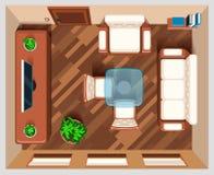 Sala de visitas com opinião superior da mobília Fotografia de Stock Royalty Free