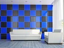 Sala de visitas com sofá e a poltrona brancos Fotos de Stock