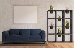 Sala de visitas com sofá, flores, muro de cimento, assoalho de madeira ilustração royalty free