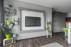 Sala de visitas com tevê grande Imagem de Stock
