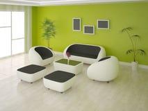 Sala de visitas com um fundo verde Ilustração Stock