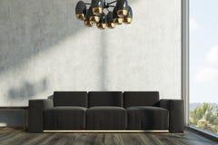 Sala de visitas concreta, sofá preto ilustração stock