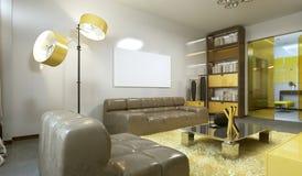 Sala de visitas contemporânea luxuoso no cinza, no amarelo e na testa pálidos ilustração royalty free