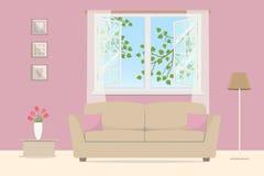 Sala de visitas cor-de-rosa Sofá bege com descansos em um fundo da janela aberta ilustração royalty free
