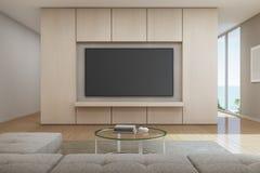 Sala de visitas da opinião do mar com a televisão na casa de praia luxuosa moderna, casa de férias para a família grande Fotos de Stock