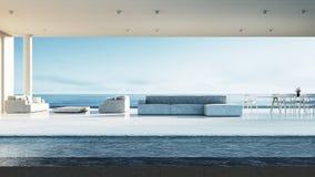 Sala de visitas da praia - a sala de estar da praia/3D rende o interior Foto de Stock Royalty Free