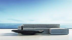 Sala de visitas da praia - a sala de estar da praia/3D rende o interior Foto de Stock
