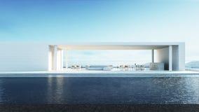 Sala de visitas da praia - a sala de estar da praia/3D rende o interior Imagens de Stock Royalty Free