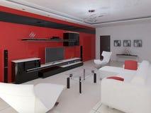Sala de visitas das cores vermelhas Ilustração do Vetor