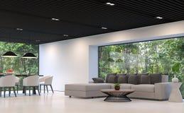 A sala de visitas e a sala de jantar preto e branco modernas com floresta veem a imagem da rendição 3d Foto de Stock