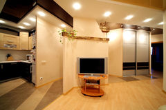 Sala de visitas e parte de uma cozinha Imagem de Stock