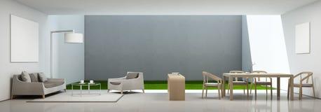 Sala de visitas e sala de jantar na casa moderna com moldura para retrato branca Fotografia de Stock