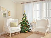 Sala de visitas em um estilo do Natal Fotos de Stock Royalty Free