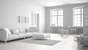 Sala de visitas escandinava branca total, design de interiores minimalista ilustração stock