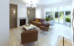 Sala de visitas espaçoso com chaminé Imagem de Stock Royalty Free