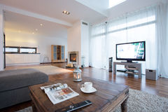 Sala de visitas espaçoso e brilhante com tevê Imagem de Stock Royalty Free