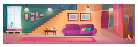 Sala de visitas interior com mobília, acessórios, com gancho do vestuário ilustração royalty free