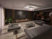 Sala de visitas interior com um fundo marrom Ilustração Royalty Free