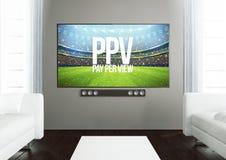 sala de visitas de madeira com pay per view Imagem de Stock